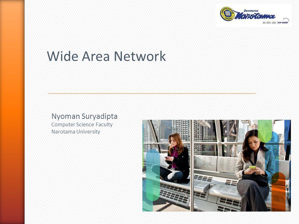 WAN = Jaringan Area Luas WAN = Menghubungkan banyak LAN WAN = Menghubungkan banyak MAN