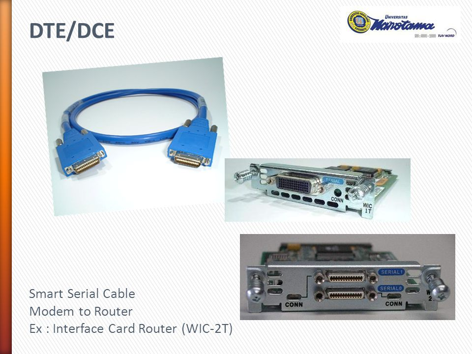 DTE/DCE Smart Serial Cable Modem to Router Ex : Interface Card Router (WIC-2T)