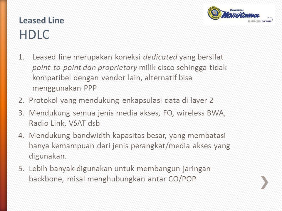 1.Leased line merupakan koneksi dedicated yang bersifat point-to-point dan proprietary milik cisco sehingga tidak kompatibel dengan vendor lain, alter