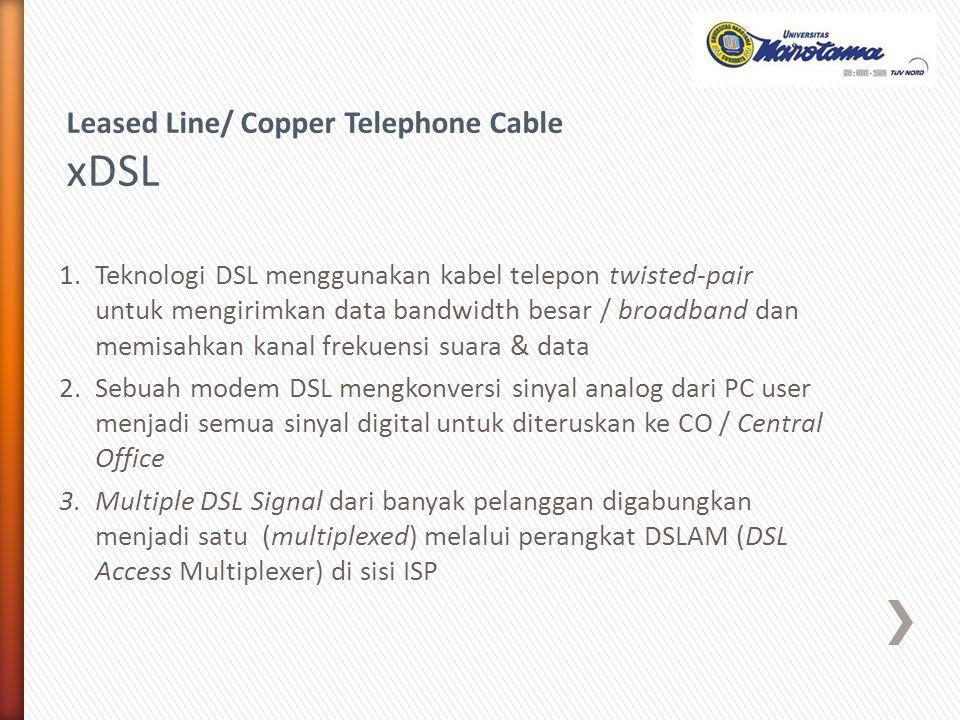 1.Teknologi DSL menggunakan kabel telepon twisted-pair untuk mengirimkan data bandwidth besar / broadband dan memisahkan kanal frekuensi suara & data