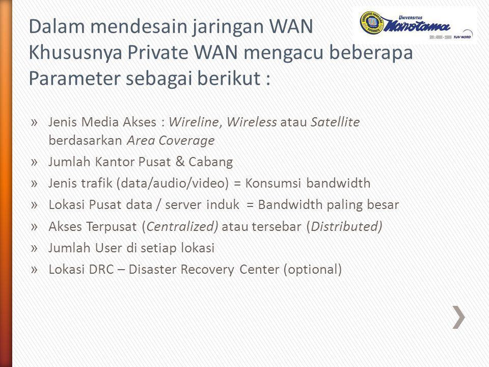 » Jenis Media Akses : Wireline, Wireless atau Satellite berdasarkan Area Coverage » Jumlah Kantor Pusat & Cabang » Jenis trafik (data/audio/video) = K