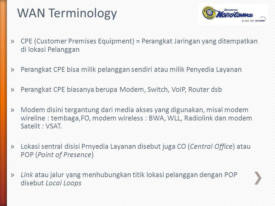 » CPE (Customer Premises Equipment) = Perangkat Jaringan yang ditempatkan di lokasi Pelanggan » Perangkat CPE bisa milik pelanggan sendiri atau milik