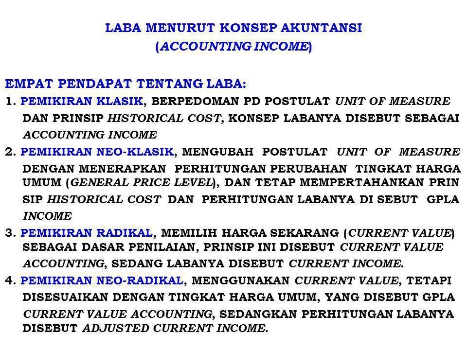 LABA MENURUT KONSEP AKUNTANSI ( ACCOUNTING INCOME ) EMPAT PENDAPAT TENTANG LABA: 1. PEMIKIRAN KLASIK, BERPEDOMAN PD POSTULAT UNIT OF MEASURE DAN PRINS