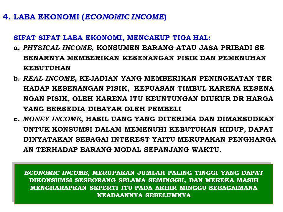 4. LABA EKONOMI ( ECONOMIC INCOME ) SIFAT SIFAT LABA EKONOMI, MENCAKUP TIGA HAL: a. PHYSICAL INCOME, KONSUMEN BARANG ATAU JASA PRIBADI SE BENARNYA MEM