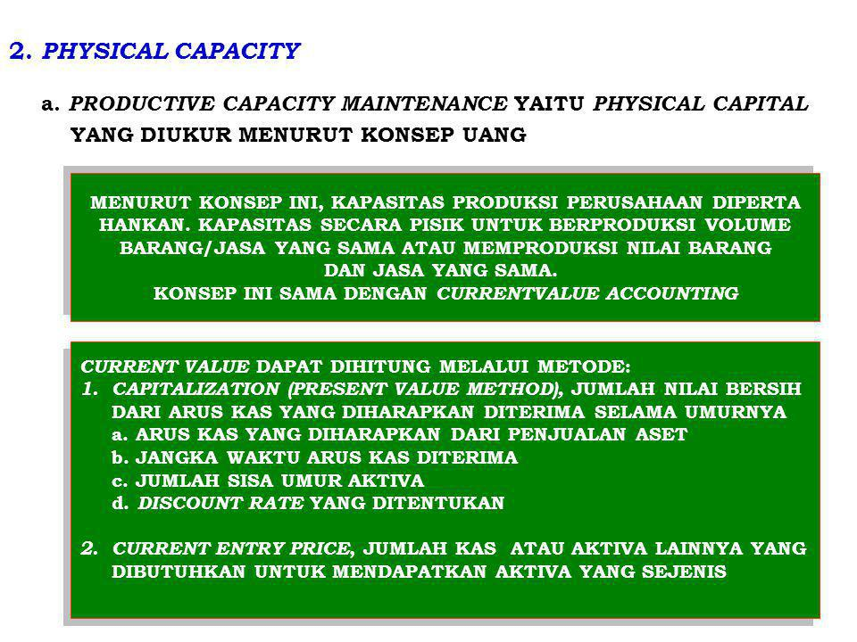 2. PHYSICAL CAPACITY a. PRODUCTIVE CAPACITY MAINTENANCE YAITU PHYSICAL CAPITAL YANG DIUKUR MENURUT KONSEP UANG MENURUT KONSEP INI, KAPASITAS PRODUKSI