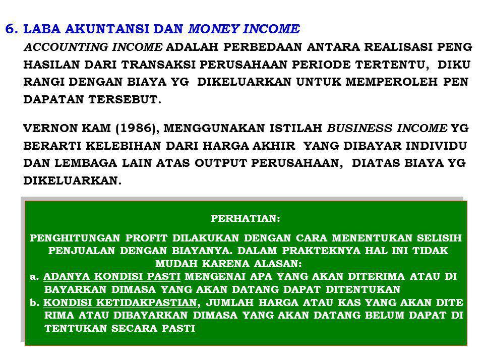 6. LABA AKUNTANSI DAN MONEY INCOME ACCOUNTING INCOME ADALAH PERBEDAAN ANTARA REALISASI PENG HASILAN DARI TRANSAKSI PERUSAHAAN PERIODE TERTENTU, DIKU R
