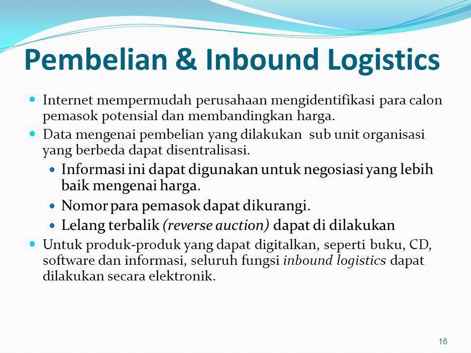 Pembelian & Inbound Logistics Internet mempermudah perusahaan mengidentifikasi para calon pemasok potensial dan membandingkan harga. Data mengenai pem