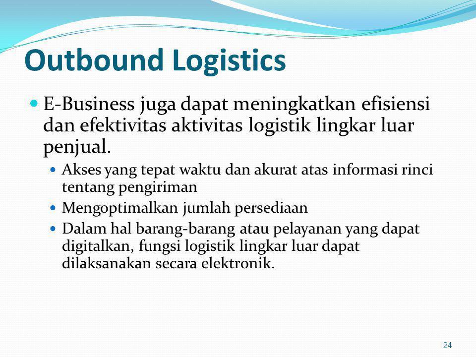Outbound Logistics E-Business juga dapat meningkatkan efisiensi dan efektivitas aktivitas logistik lingkar luar penjual. Akses yang tepat waktu dan ak
