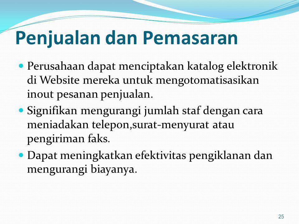 Penjualan dan Pemasaran Perusahaan dapat menciptakan katalog elektronik di Website mereka untuk mengotomatisasikan inout pesanan penjualan. Signifikan