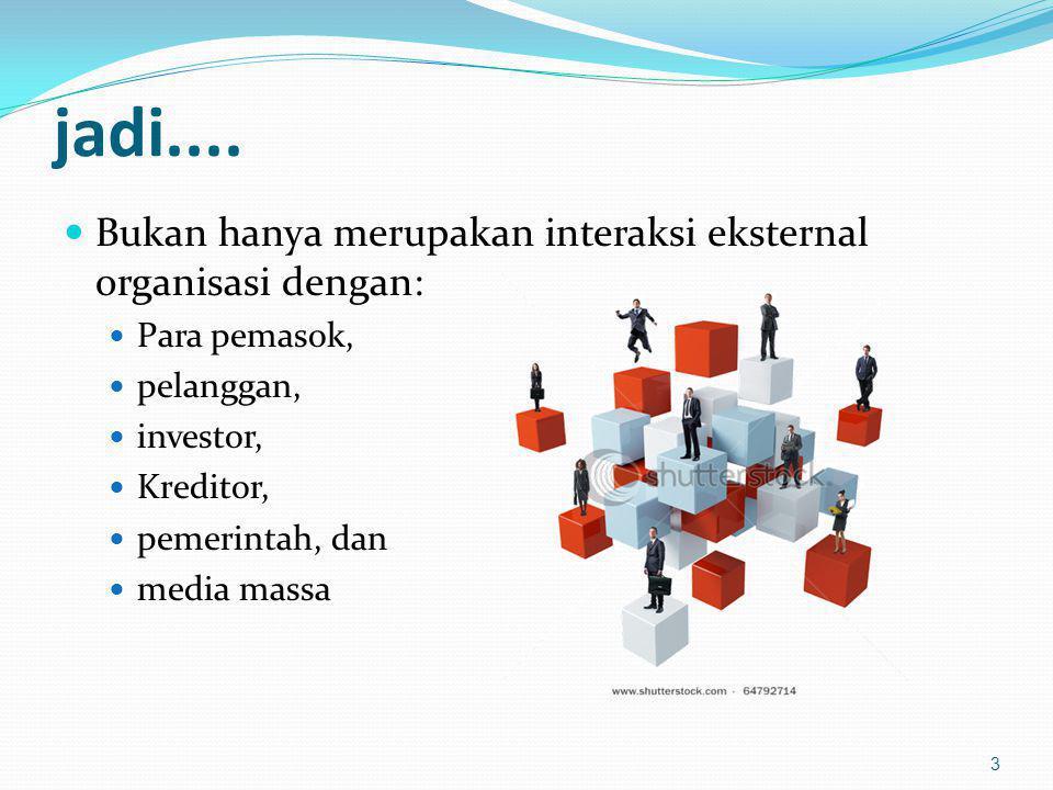 jadi.... Bukan hanya merupakan interaksi eksternal organisasi dengan: Para pemasok, pelanggan, investor, Kreditor, pemerintah, dan media massa 3