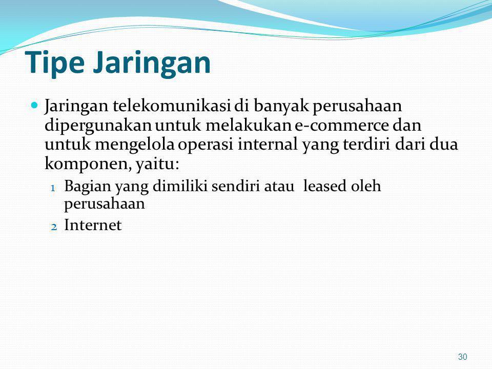 Tipe Jaringan Jaringan telekomunikasi di banyak perusahaan dipergunakan untuk melakukan e-commerce dan untuk mengelola operasi internal yang terdiri d