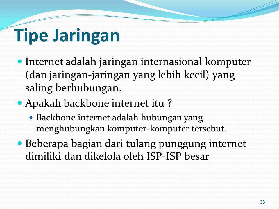 Tipe Jaringan Internet adalah jaringan internasional komputer (dan jaringan-jaringan yang lebih kecil) yang saling berhubungan. Apakah backbone intern