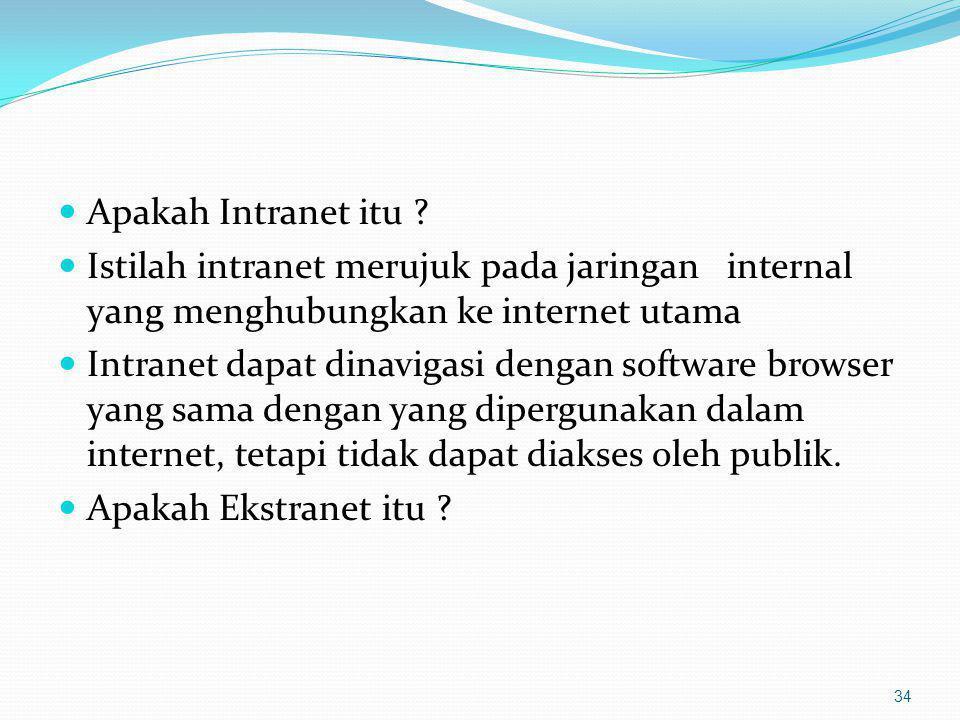 Apakah Intranet itu ? Istilah intranet merujuk pada jaringan internal yang menghubungkan ke internet utama Intranet dapat dinavigasi dengan software b