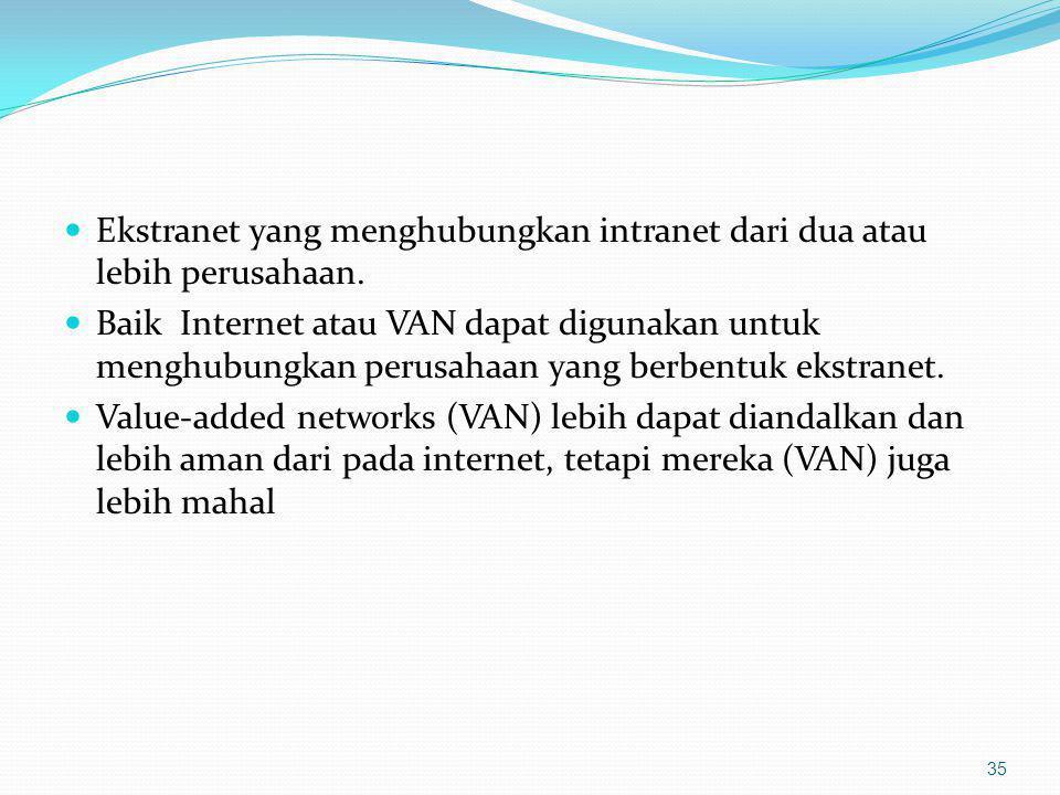 Ekstranet yang menghubungkan intranet dari dua atau lebih perusahaan. Baik Internet atau VAN dapat digunakan untuk menghubungkan perusahaan yang berbe