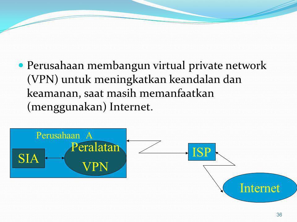 Perusahaan membangun virtual private network (VPN) untuk meningkatkan keandalan dan keamanan, saat masih memanfaatkan (menggunakan) Internet. 36 Perus