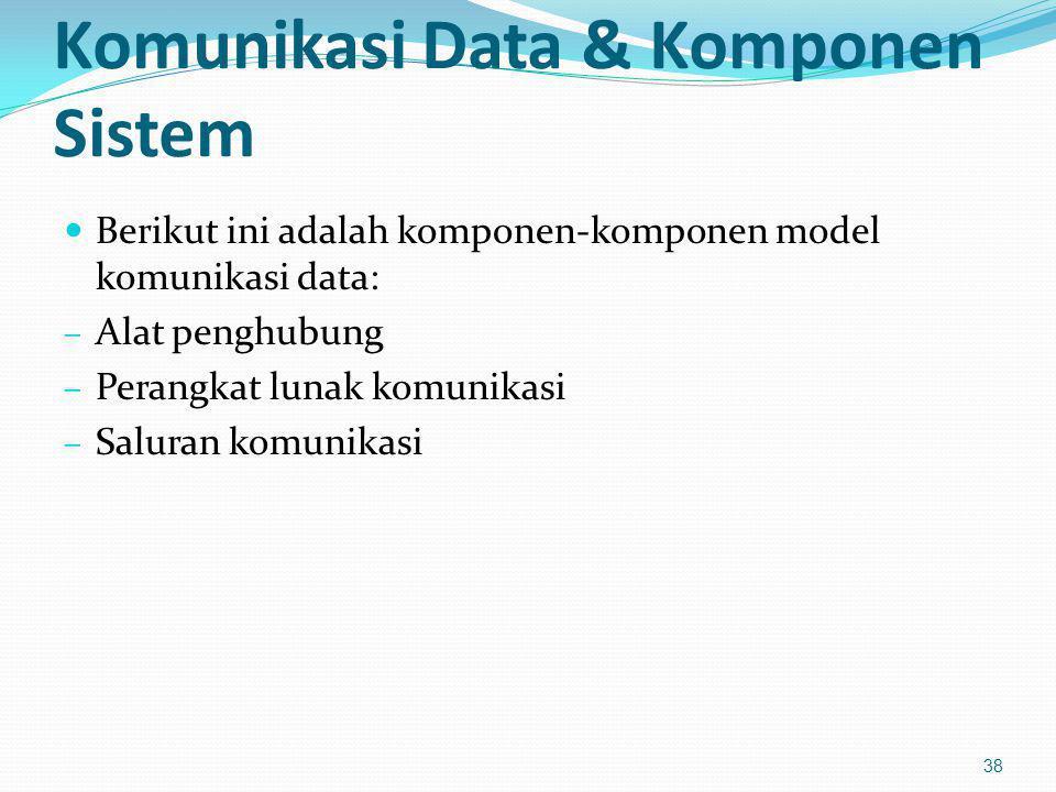 Komunikasi Data & Komponen Sistem Berikut ini adalah komponen-komponen model komunikasi data: – Alat penghubung – Perangkat lunak komunikasi – Saluran