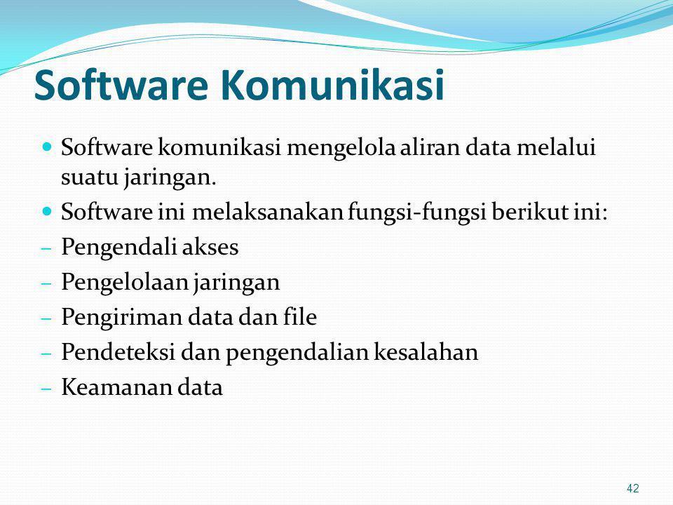 Software Komunikasi Software komunikasi mengelola aliran data melalui suatu jaringan. Software ini melaksanakan fungsi-fungsi berikut ini: – Pengendal