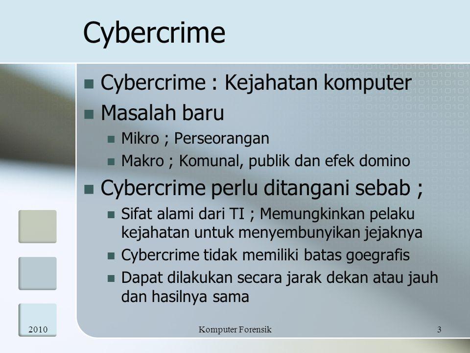 Cybercrime Cybercrime : Kejahatan komputer Masalah baru Mikro ; Perseorangan Makro ; Komunal, publik dan efek domino Cybercrime perlu ditangani sebab