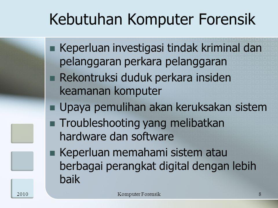 Kebutuhan Komputer Forensik Keperluan investigasi tindak kriminal dan pelanggaran perkara pelanggaran Rekontruksi duduk perkara insiden keamanan kompu