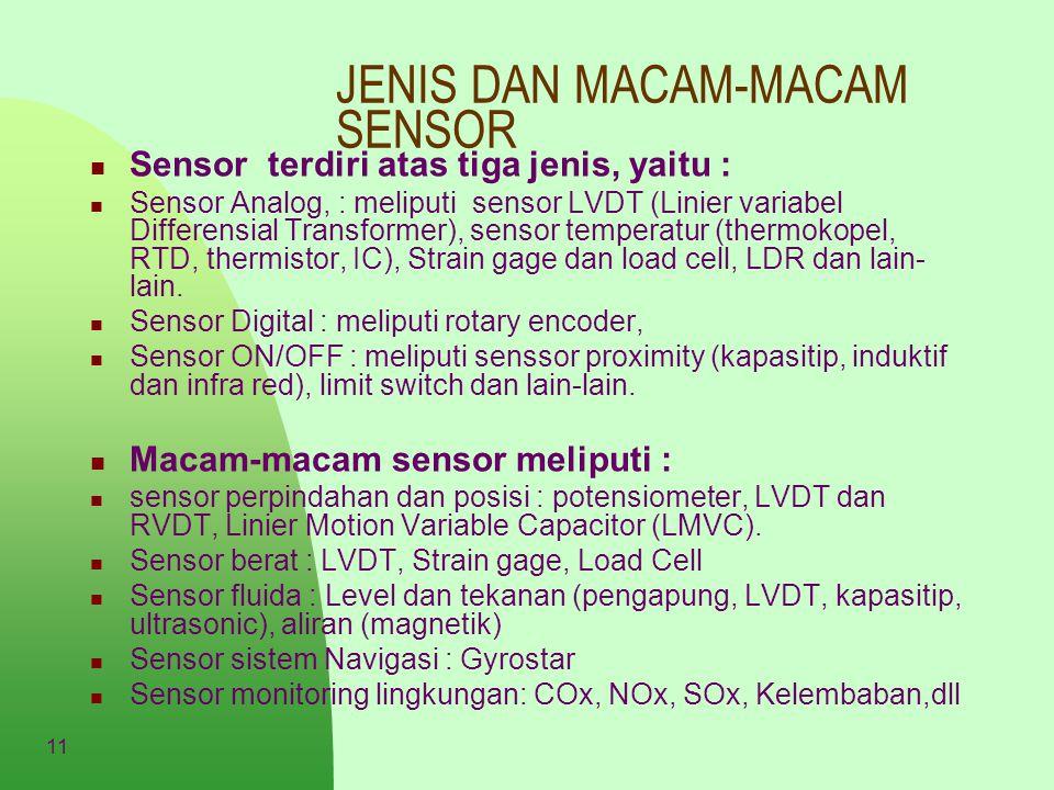 11 JENIS DAN MACAM-MACAM SENSOR Sensor terdiri atas tiga jenis, yaitu : Sensor Analog, : meliputi sensor LVDT (Linier variabel Differensial Transforme