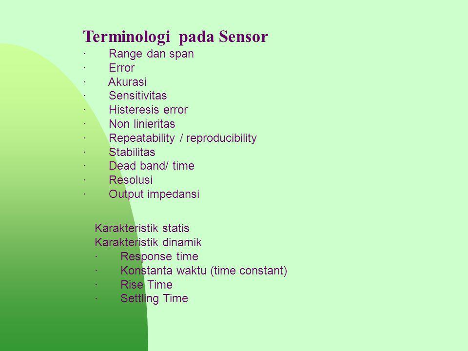 Terminologi pada Sensor · Range dan span · Error · Akurasi · Sensitivitas · Histeresis error · Non linieritas · Repeatability / reproducibility · Stab