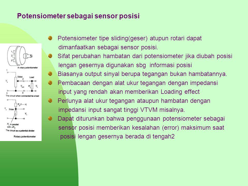 Potensiometer sebagai sensor posisi Potensiometer tipe sliding(geser) atupun rotari dapat dimanfaatkan sebagai sensor posisi. Sifat perubahan hambatan