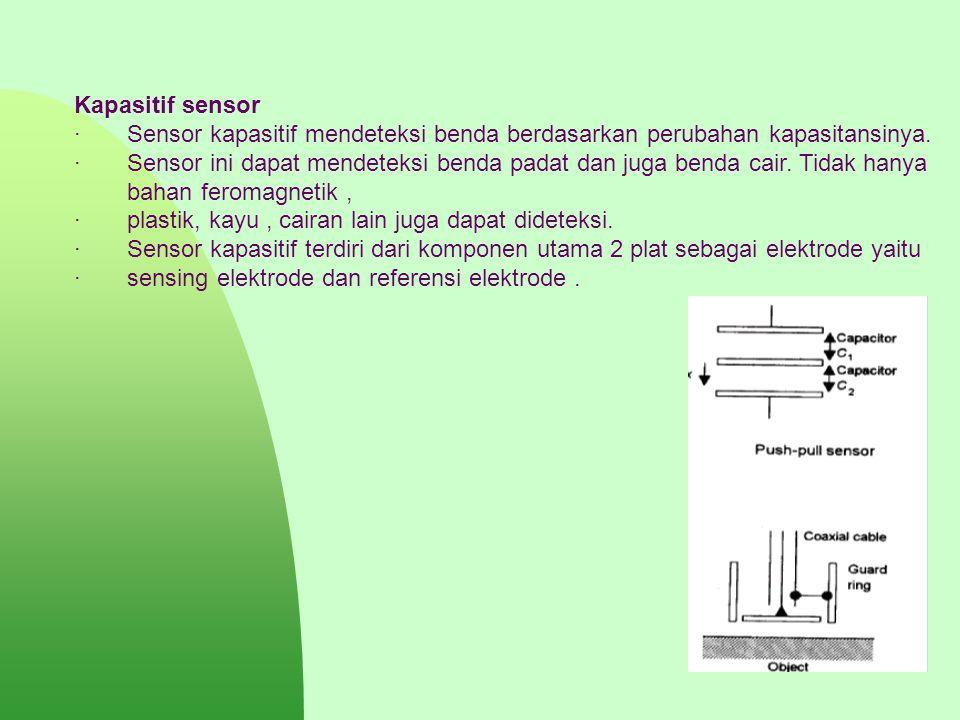 Kapasitif sensor · Sensor kapasitif mendeteksi benda berdasarkan perubahan kapasitansinya. · Sensor ini dapat mendeteksi benda padat dan juga benda ca