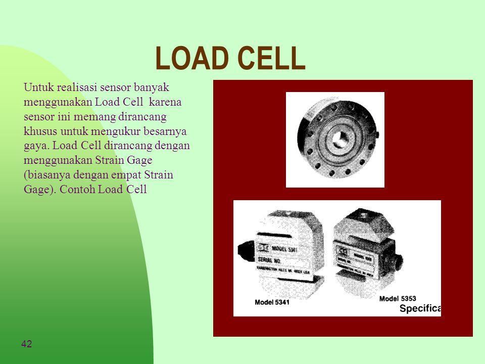 42 LOAD CELL Untuk realisasi sensor banyak menggunakan Load Cell karena sensor ini memang dirancang khusus untuk mengukur besarnya gaya. Load Cell dir