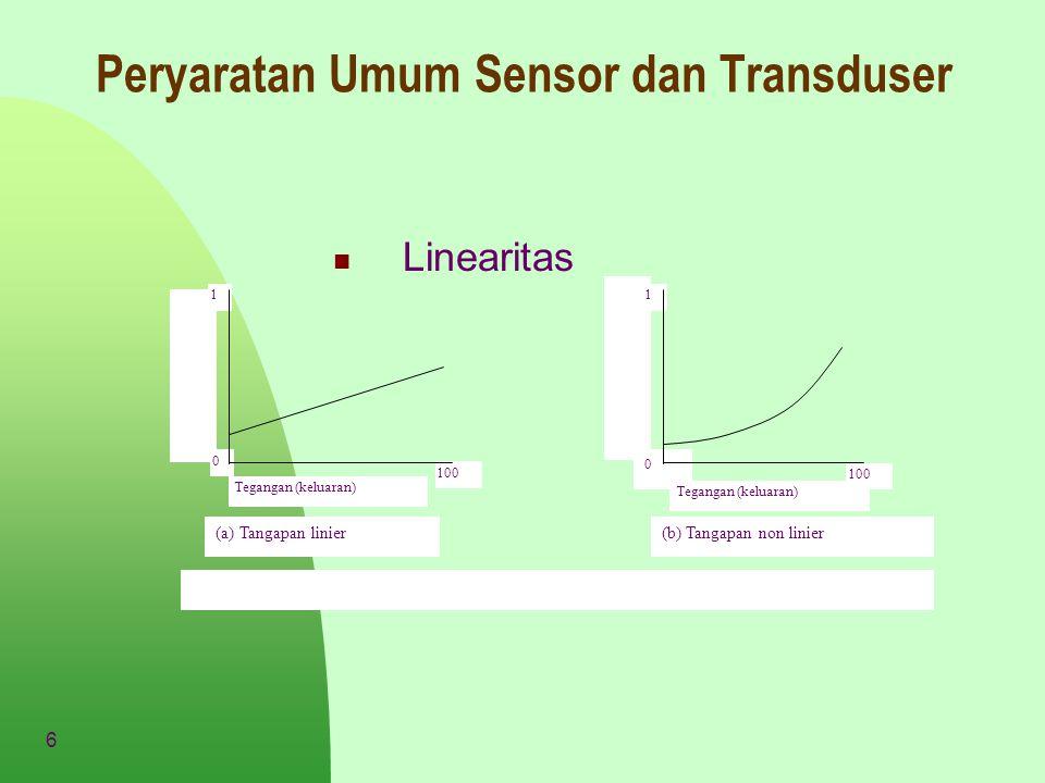 7 Peryaratan Umum Sensor dan Transduser Sensitivitas Sensitivitas sering juga dinyatakan dengan bilangan yang menunjukan perubahan keluaran dibandingkan unit perubahan masukan .