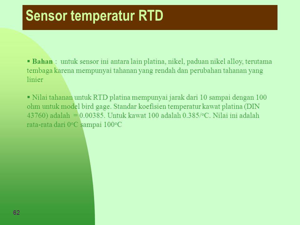 62 Sensor temperatur RTD  Bahan : untuk sensor ini antara lain platina, nikel, paduan nikel alloy, terutama tembaga karena mempunyai tahanan yang ren
