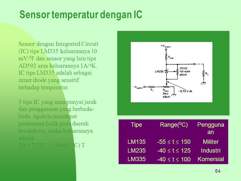64 Sensor temperatur dengan IC Sensor dengan Integrated Circuit (IC) tipe LM335 keluarannya 10 mV/ 0 F dan sensor yang lain tipe AD592 arus keluaranny