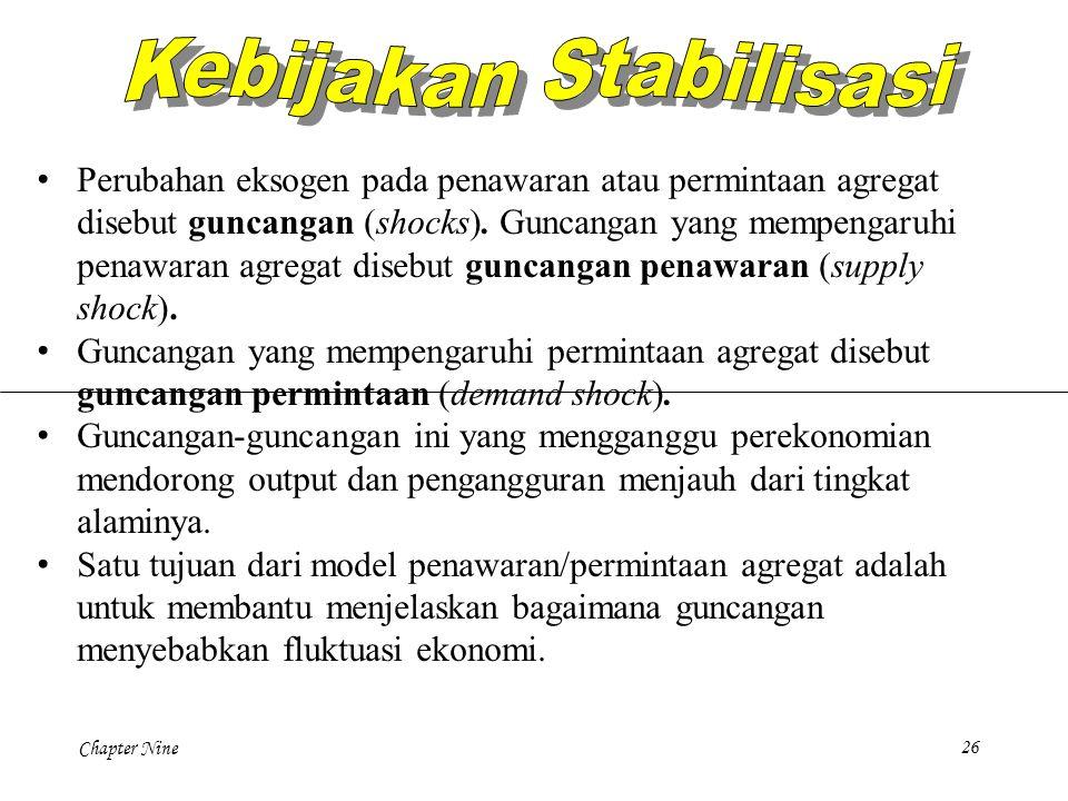 Chapter Nine26 Perubahan eksogen pada penawaran atau permintaan agregat disebut guncangan (shocks). Guncangan yang mempengaruhi penawaran agregat dise