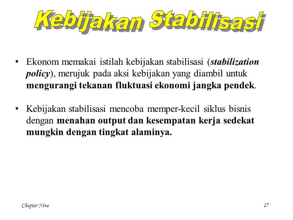 Chapter Nine27 Ekonom memakai istilah kebijakan stabilisasi (stabilization policy), merujuk pada aksi kebijakan yang diambil untuk mengurangi tekanan