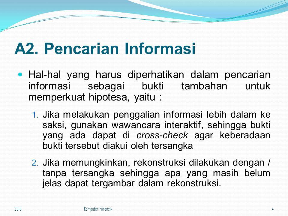 A2. Pencarian Informasi Hal-hal yang harus diperhatikan dalam pencarian informasi sebagai bukti tambahan untuk memperkuat hipotesa, yaitu : 1. Jika me