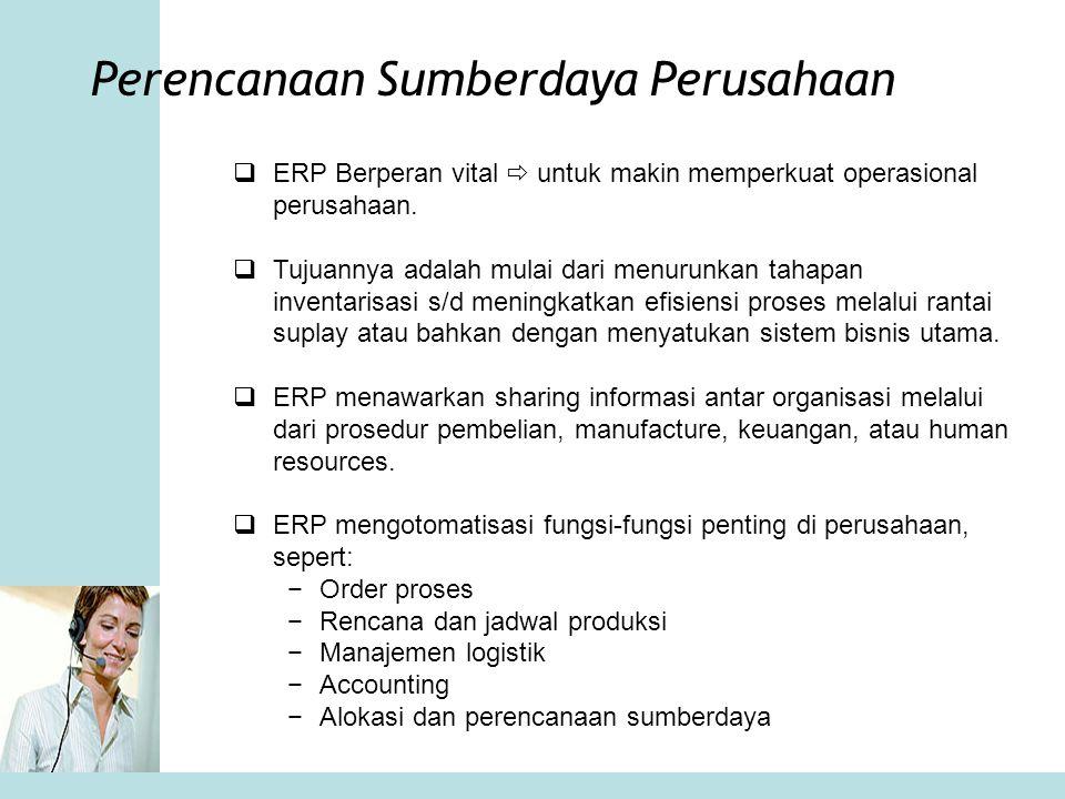 Perencanaan Sumberdaya Perusahaan  ERP Berperan vital  untuk makin memperkuat operasional perusahaan.  Tujuannya adalah mulai dari menurunkan tahap