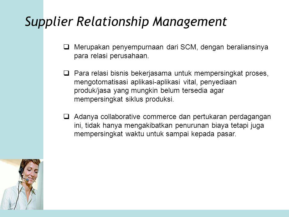 Supplier Relationship Management  Merupakan penyempurnaan dari SCM, dengan beraliansinya para relasi perusahaan.  Para relasi bisnis bekerjasama unt