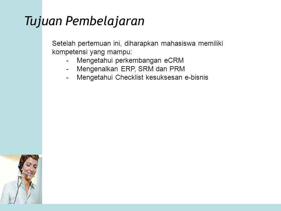 Materi Bahasan Lingkup eCRM ERP SCM Supplier Relationalship Management Partner Relationalship Management Agar e-business sukses