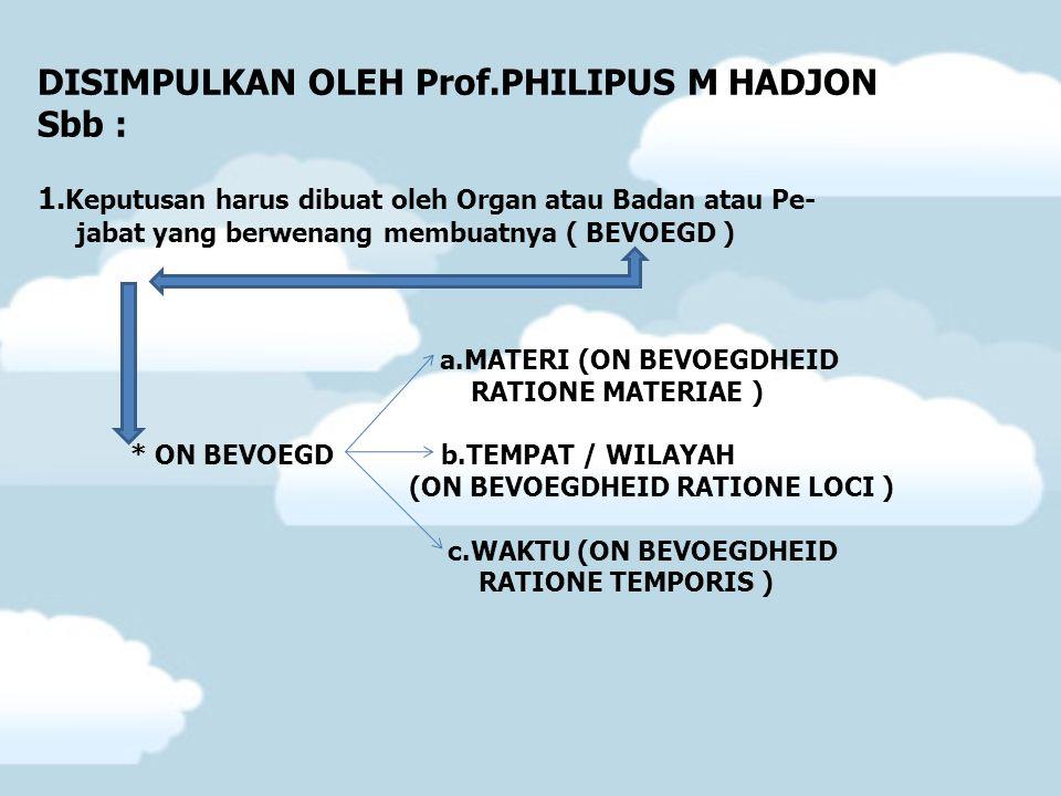 DISIMPULKAN OLEH Prof.PHILIPUS M HADJON Sbb : 1. Keputusan harus dibuat oleh Organ atau Badan atau Pe- jabat yang berwenang membuatnya ( BEVOEGD ) a.M