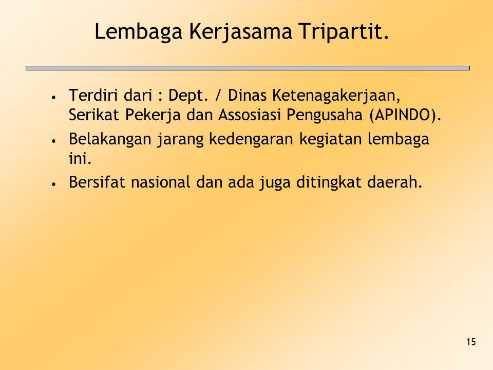 15 Lembaga Kerjasama Tripartit. Terdiri dari : Dept. / Dinas Ketenagakerjaan, Serikat Pekerja dan Assosiasi Pengusaha (APINDO). Belakangan jarang kede