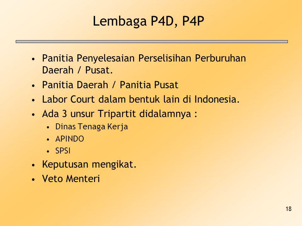 18 Lembaga P4D, P4P Panitia Penyelesaian Perselisihan Perburuhan Daerah / Pusat. Panitia Daerah / Panitia Pusat Labor Court dalam bentuk lain di Indon