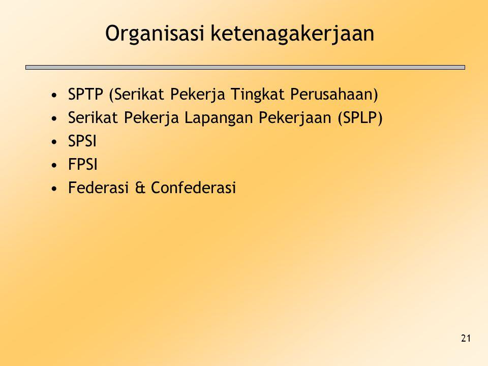 21 Organisasi ketenagakerjaan SPTP (Serikat Pekerja Tingkat Perusahaan) Serikat Pekerja Lapangan Pekerjaan (SPLP) SPSI FPSI Federasi & Confederasi