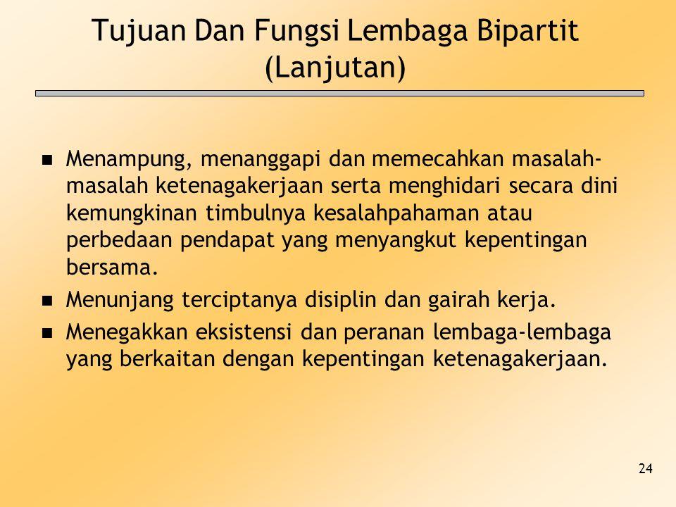 24 Tujuan Dan Fungsi Lembaga Bipartit (Lanjutan) n Menampung, menanggapi dan memecahkan masalah- masalah ketenagakerjaan serta menghidari secara dini