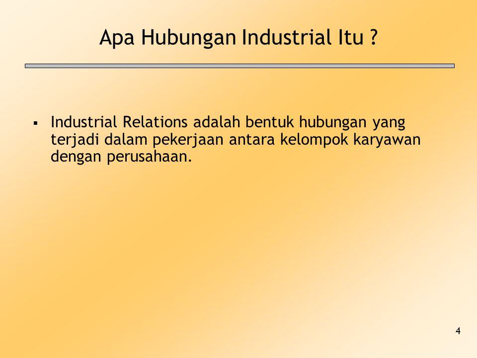 4 Apa Hubungan Industrial Itu ?  Industrial Relations adalah bentuk hubungan yang terjadi dalam pekerjaan antara kelompok karyawan dengan perusahaan.