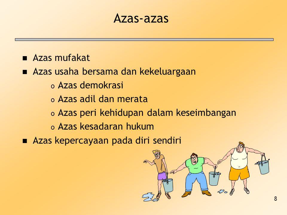 8 Azas-azas n Azas mufakat n Azas usaha bersama dan kekeluargaan o Azas demokrasi o Azas adil dan merata o Azas peri kehidupan dalam keseimbangan o Az