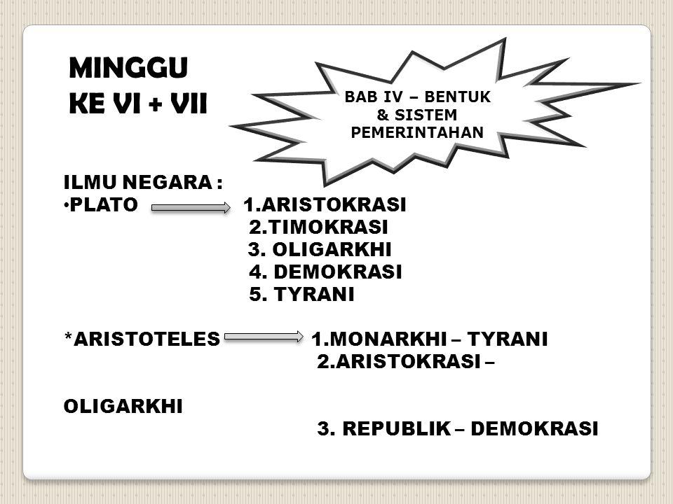 ILMU NEGARA : PLATO 1.ARISTOKRASI 2.TIMOKRASI 3. OLIGARKHI 4. DEMOKRASI 5. TYRANI *ARISTOTELES 1.MONARKHI – TYRANI 2.ARISTOKRASI – OLIGARKHI 3. REPUBL
