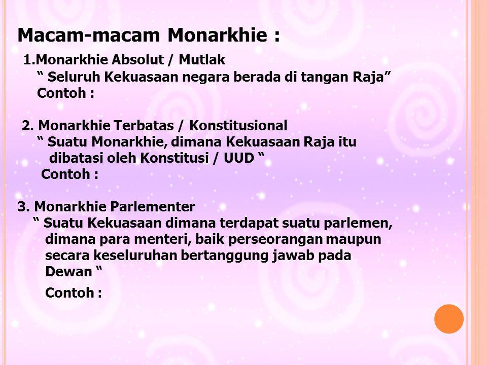 """Macam-macam Monarkhie : 1.Monarkhie Absolut / Mutlak """" Seluruh Kekuasaan negara berada di tangan Raja"""" Contoh : 2. Monarkhie Terbatas / Konstitusional"""