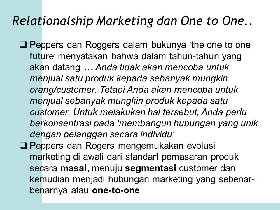 Relationalship Marketing dan One to One..  Peppers dan Roggers dalam bukunya 'the one to one future' menyatakan bahwa dalam tahun-tahun yang akan dat