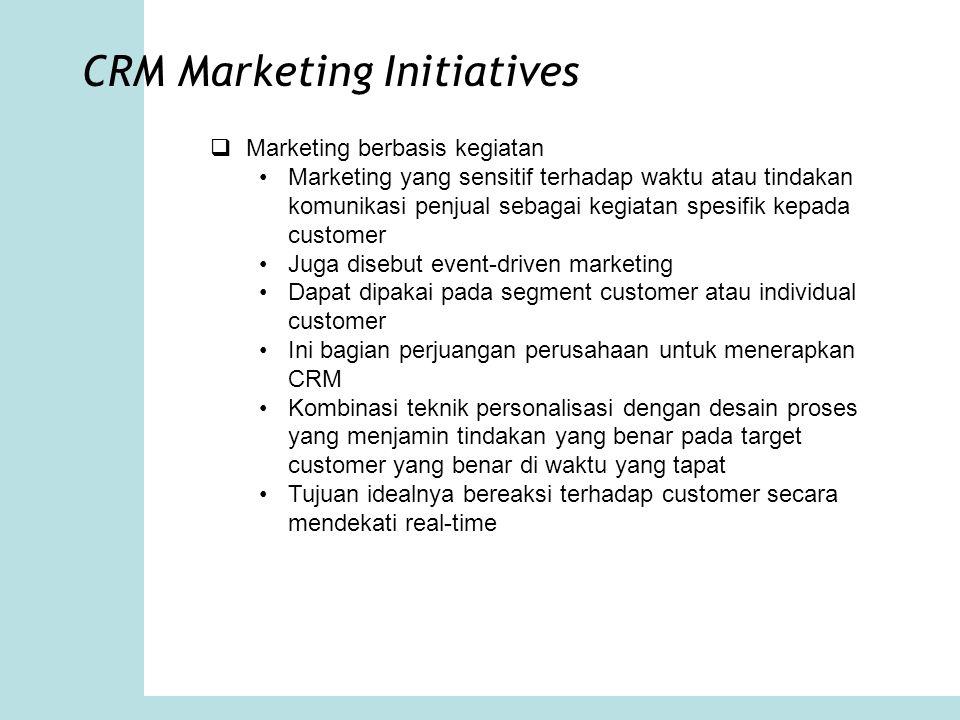 CRM Marketing Initiatives  Marketing berbasis kegiatan Marketing yang sensitif terhadap waktu atau tindakan komunikasi penjual sebagai kegiatan spesi