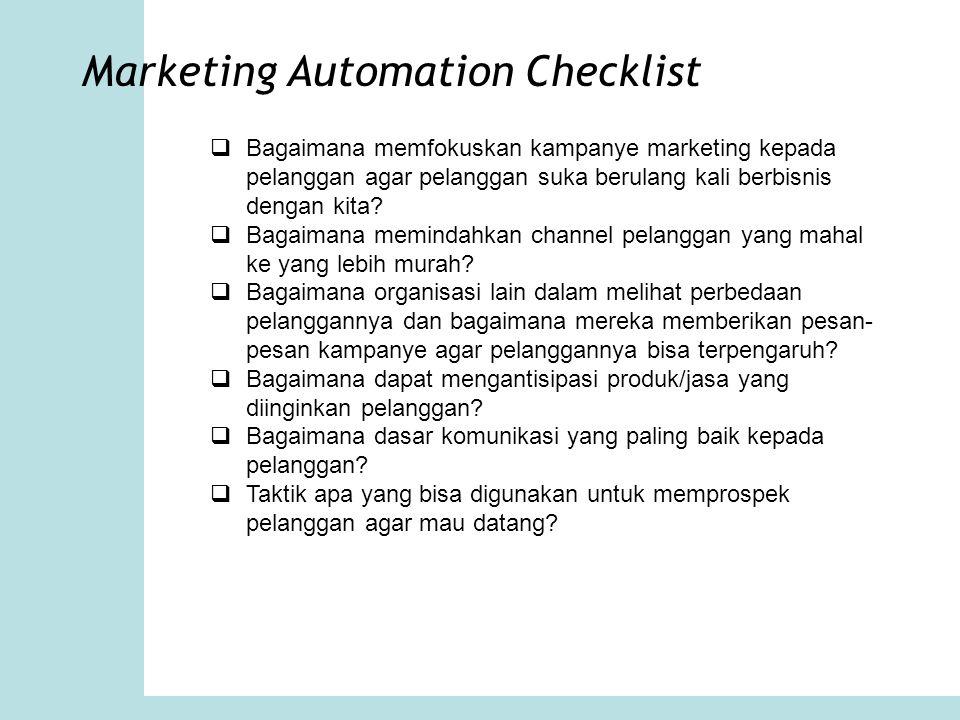 Marketing Automation Checklist  Bagaimana memfokuskan kampanye marketing kepada pelanggan agar pelanggan suka berulang kali berbisnis dengan kita? 