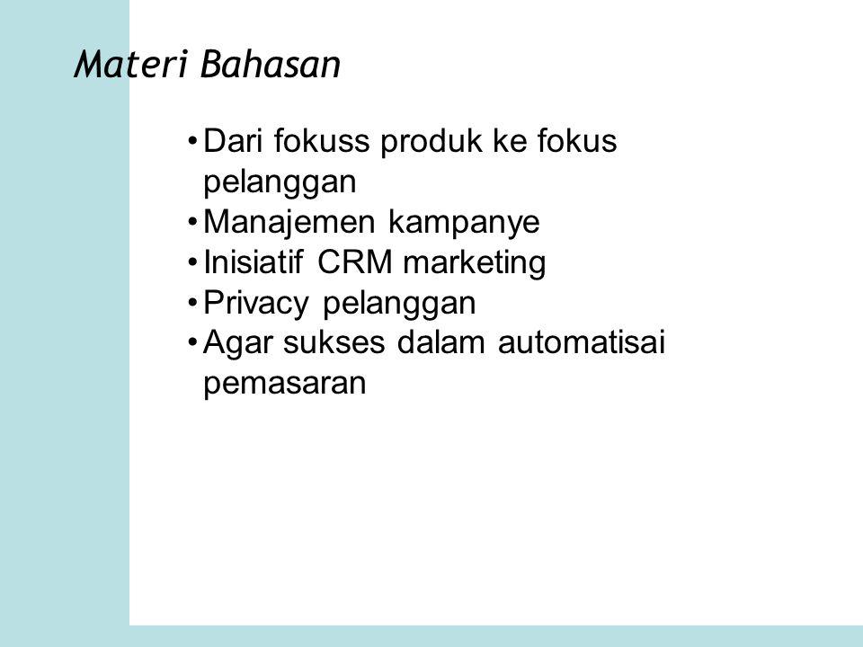 Materi Bahasan Dari fokuss produk ke fokus pelanggan Manajemen kampanye Inisiatif CRM marketing Privacy pelanggan Agar sukses dalam automatisai pemasa